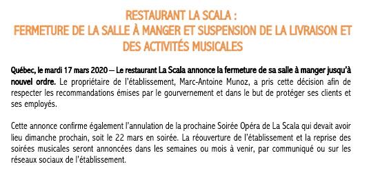 Communiqué Fermeture temporaire de la salle à manger à La Scala
