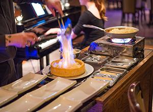 Pâtes flambées à votre table