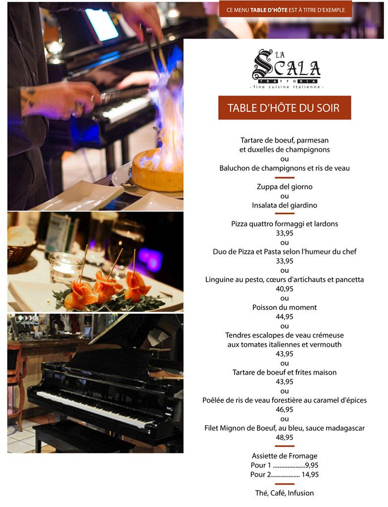 Table d'hôte du soir - Restaurant La Scala Québec