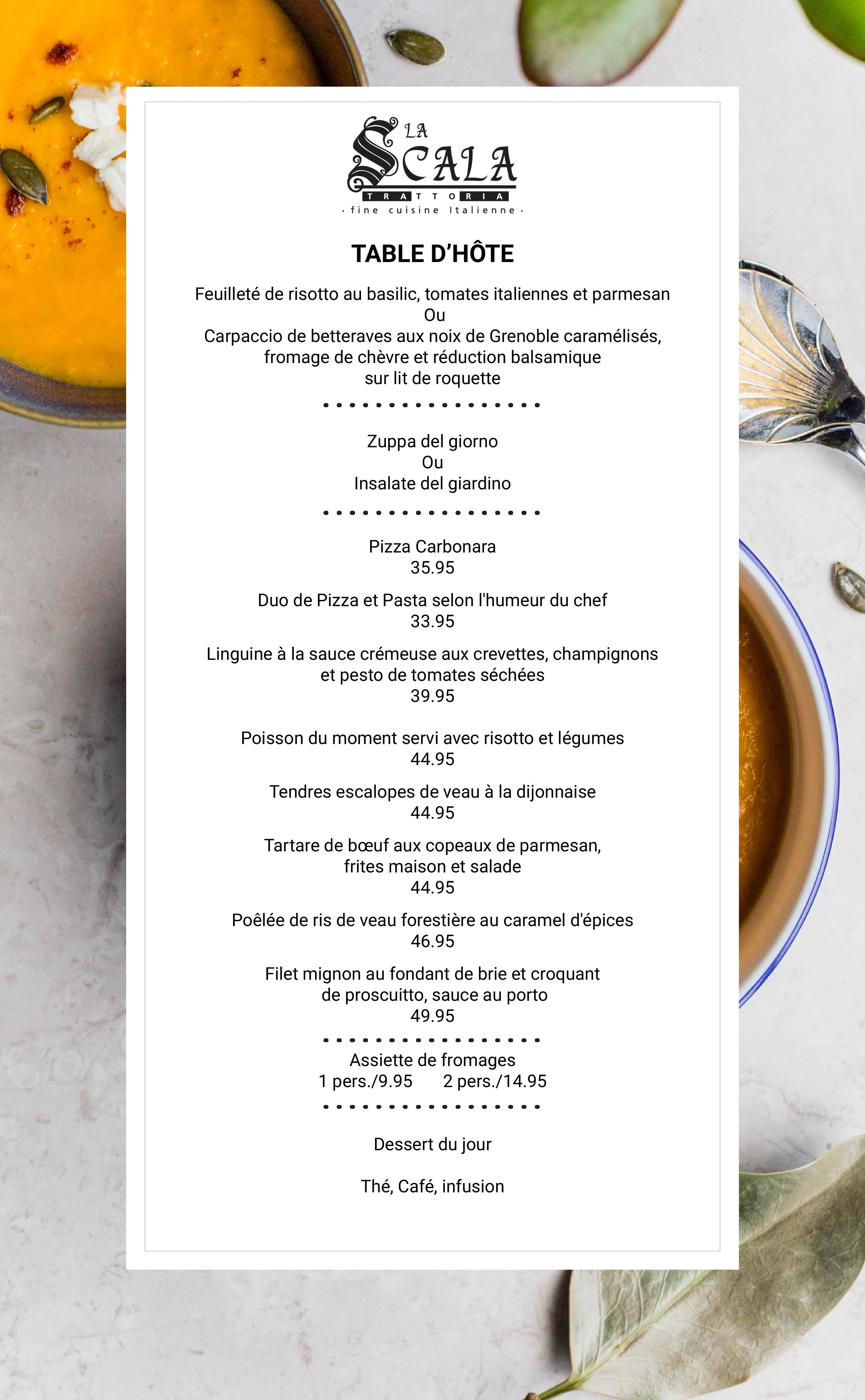 Table d'hôte Resto La Scala